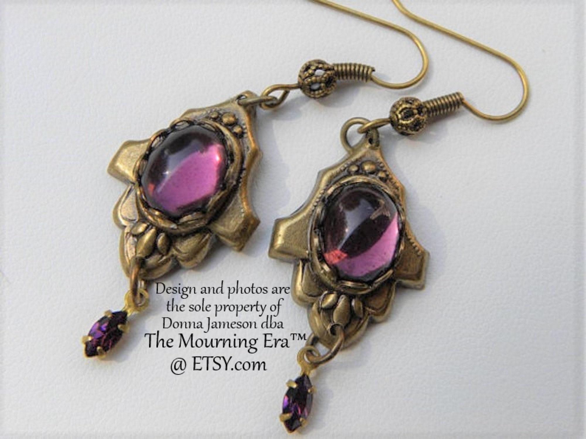 Victorian Mourning Earrings Gothic Long Slender Spike Dangles Pit Pendulum Horror Gift \u00ae\u00a92016DJ Shabby Goth Victorian Hand Bow Earrings