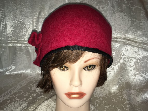 Red wool blend cloche hat with black grosgrain ribbon trim  19b89ad870cb