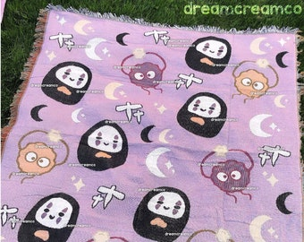 BACKORDER: Spooky Spirits Woven Throw Blanket | Home Decor | Reversible Wall Hanging Tapestry | Picnic Travel Towel | Floor Rug