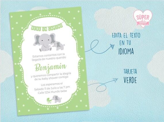 Baby Shower Bebé En Camino Es Niño Tarjeta De Invitación Elefante