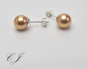 shell core beads shell pearls golden pearl earrings bridal bridesmaid gift 585 GF stardust square decorative beads 14 k gold filled