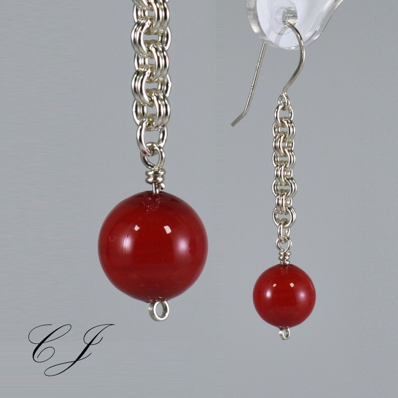 Silver Chainmaille Earrings Red Murano Glass Murano Glass Jewelry Murano Glass Earrings