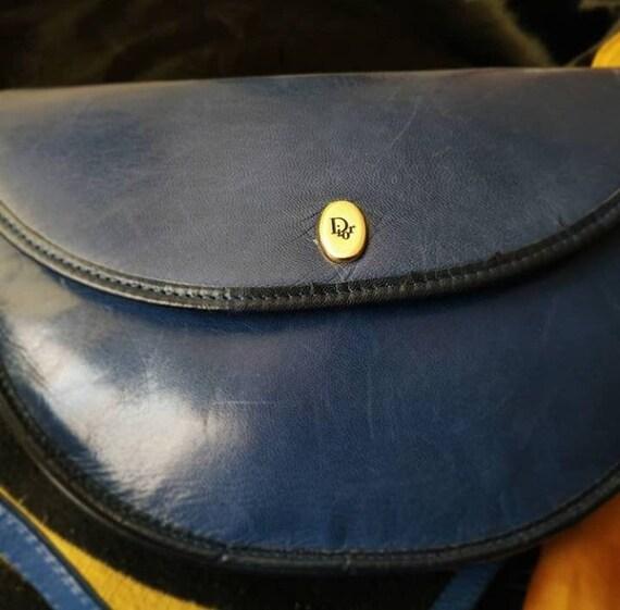 Christian Dior Vintage Bag blue leather rare vintage original  e687ddd416d34