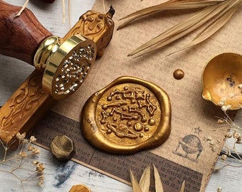 Assassins Creed Pattern VIHOME Assassins Creed Pattern Assassin Seal Wax Stamp Vintage Retro Brass Head Wooden Handle/ Great Gift for Games Player 2 PCS Pack Assassin Wax Seal Stamp