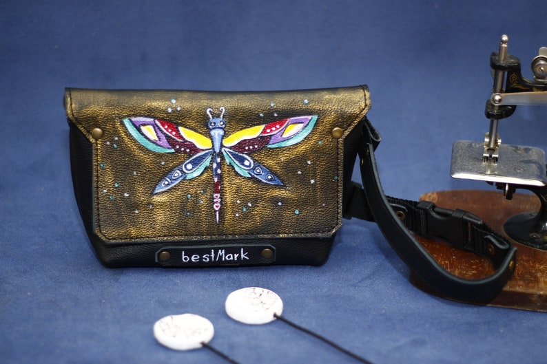 Painted Wallet Art Leather Belt Personalized  Gifts Hand Painted Leather Waist bag for Woman Artwork