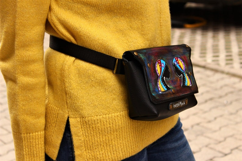 Painted Wallet Hand Painted Leather Waist bag for Woman Artwork Leather Belt Personalized  Gifts Art