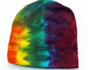 550cc1fd5fa Baby Tie-Dye Infant Beanie Cap - Hand Dyed Soft Cotton Hat - Rainbow Stripe