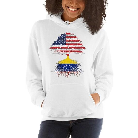 Venezuela Roots Unisex Hooded Sweatshirt Venezuela Usa Flags Etsy