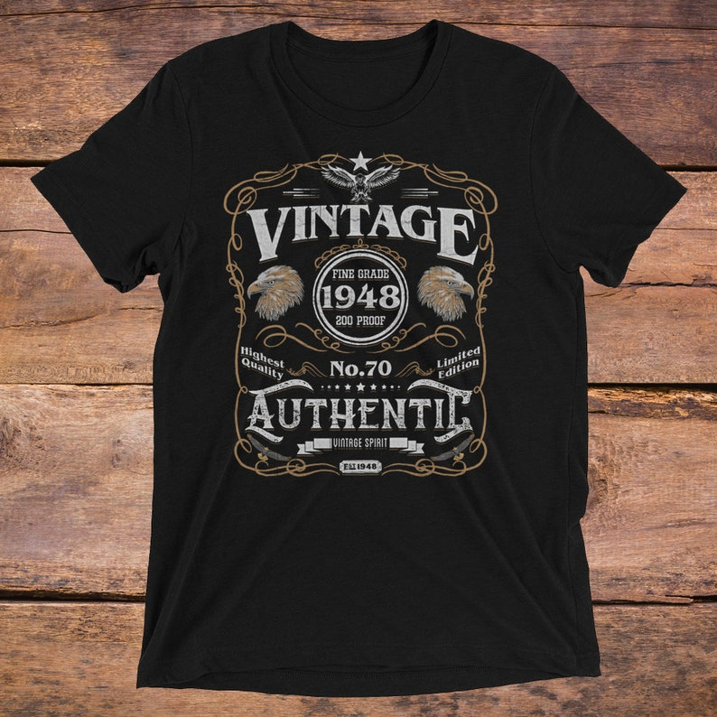 Birthday Born In 1948 70th 70 Gift Shirt Vintage Unisex For Seventy Year Old Christmas Turning Tshirt
