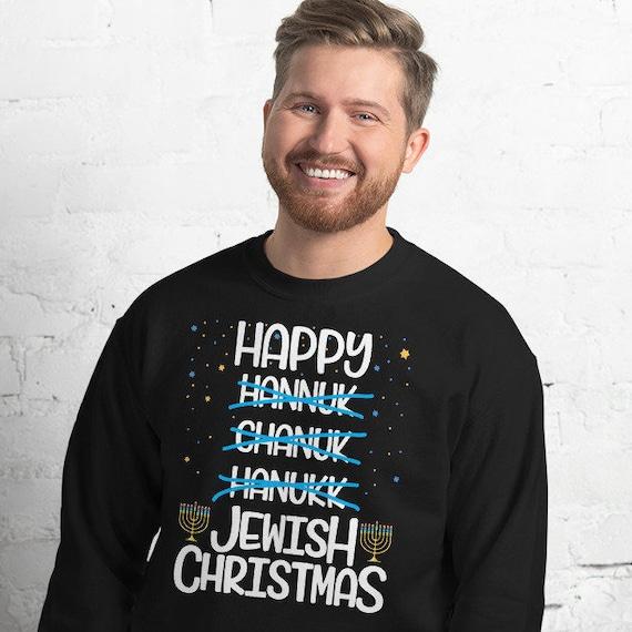 Funny Happy Jewish Christmas | Jewish Hanukkah Chanukkah Ugly Christmas Style Sweater Sweatshirt Pullover | Gift For Hanukkah Holiday Season by Etsy