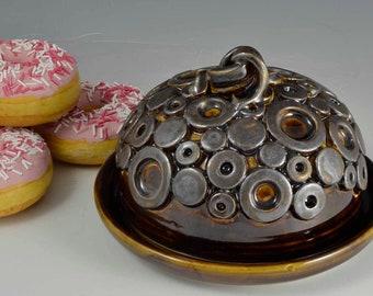 2 Piece Ceramic Dome, Pottery Server, Amber / Metallic Ceramic Medium Cake Stand, Pottery Butterdish, Handmade Cheese Pottery Dome Server
