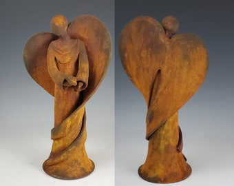 Rust Finish Ceramic Angel Figurine, Ceramic Angel Handmade, Pottery Angel, Ceramic Angel Statue, Angel, Pottery Angel Figurine