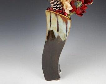 Wavy Slim Tall Vase, Slender Vase, Handmade Flower Vase, Ceramic Vase, Pottery Flower Vase, Handmade Pottery Vase, Clay Vase