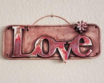 Love Wall Plaque, Decorative Clay Art, Handmade Ceramic Love Art, Pottery Love Keepsake, Valentine Gift, Valentine Love Gift, Wall Hanging