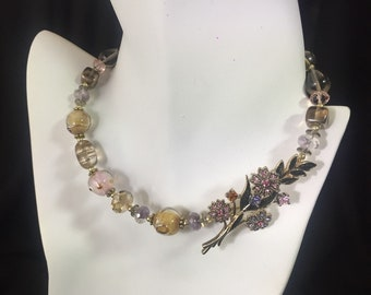 Woodland pastel floral lampwork choker upcycled with vintage crystal pendant Repurposed eco friendly jewelry Romantic wedding necklace