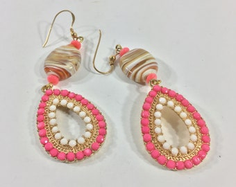 Swirl cream and white lampwork earrings upcycled with vintage hot pink dangles Repurposed eco friendly jewelry Fun summer earrings For her