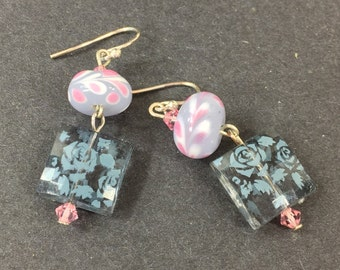 Geometric lavender lampwork earrings upcycled with vintage square dangles Repurposed eco friendly jewelry for her Pink and gray earrings