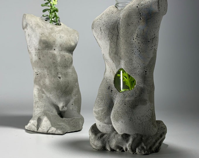 "6.5"" Hermaphroditus Concrete and Glass Flower Vase - 16.5 cm - Queer Sculpture"