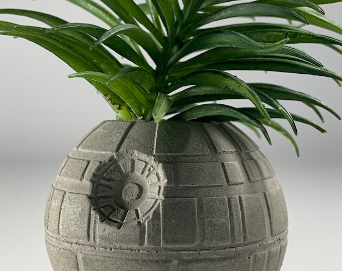 DEATH  STAR PLANTER - 6cm - Air Plant Holder - Star Wars Planter - Concrete Plant Pot - Concrete Death Star - Indoor Gardening - Geek Gift