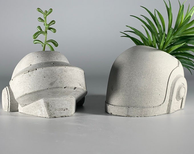 Daft Punk Concrete Planters SET - Thomas and Guy - House Music -  Succulent Planter - Dj Gift - Air plant - Music Gift