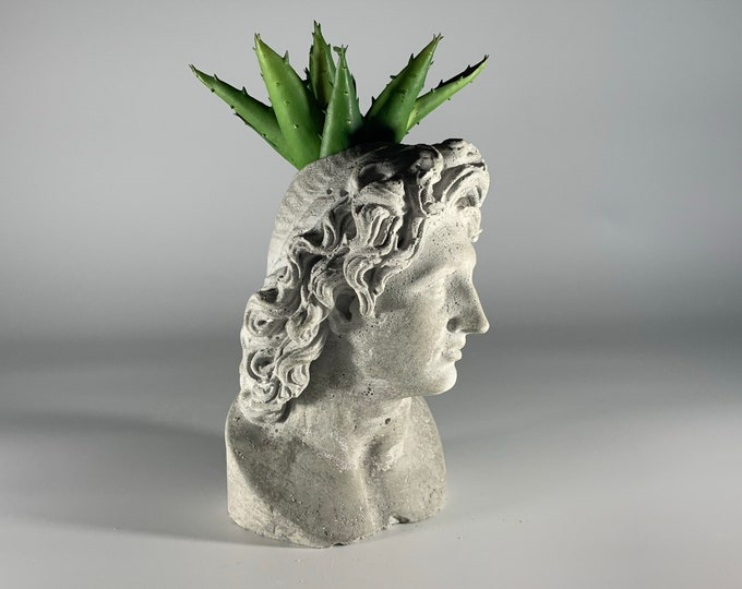 "6.2"" ALEXANDER FACE PLANTER - Alexander Vase - Flower Pot -Alexander The Great  - Sculpture Planter - Alexander Macedonia - Home Decoration"