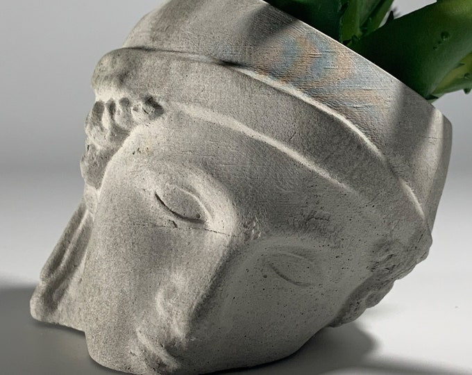 ATHENA CONCRETE Face Planter - Head Planter - Athena Plant Pot - Sculpture Planter - Goddess Of Wisdom - Home Decoration - Home Decor