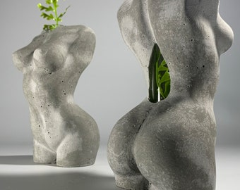 "6.5"" Concrete and Glass Flower Vase  - 16.5 cm - Woman Body Sculpture"