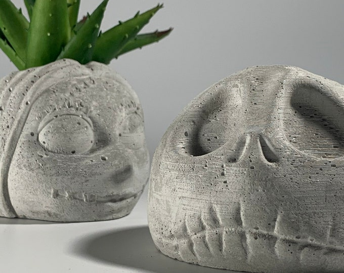 The Nightmare BC - Concrete Face Planters - Indoor Planters -Jack Skellington - Sally - Modern - Housewarming Gift
