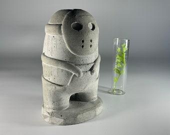 "6.45"" Among Us Jason Concrete and Glass Flower Vase - 16.2 cm - Flower Pot - Air plant holder"