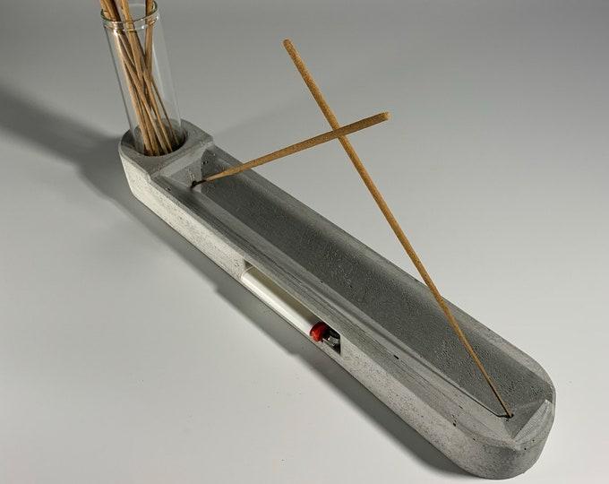 Concrete Incense Burner -For  Dual Stick - With Lighter Socket - And Glass Tube For Incense Sticks