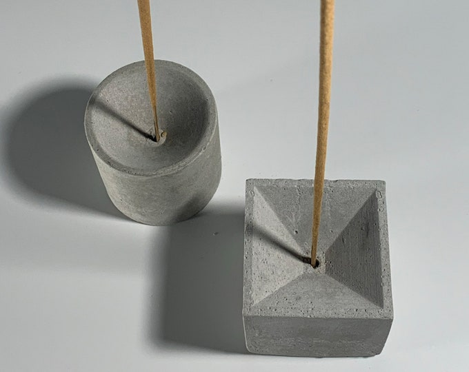 A Pair of - Cube or Cylinder Concrete Incense Holders - Vertical Incense Burners - Modern - Minimalist - Home Decor
