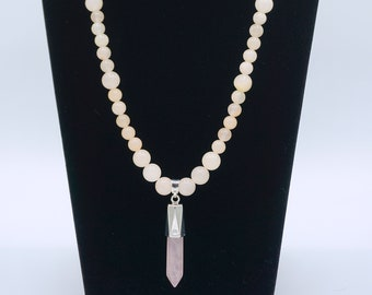 Pink Opal Beaded Necklace with Rose Quartz Pendant