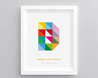 Colourful Geometric Customised Letter Print - A4