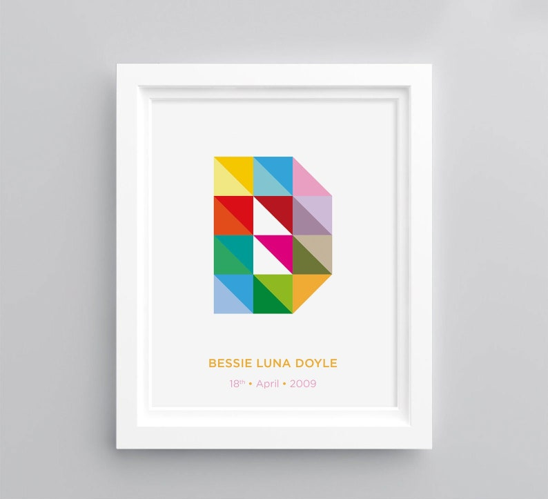 Colourful Geometric Customised Letter Print  A4 image 0