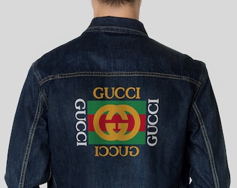 f6d48600ecb Gucci Gift For Him Gucci Inspired Mens Clothes Gucci Champion Mens Denim  Jacket Painted Gift For Gucci Men Sweatshirt MS0135