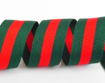 90572f7fd 1 inch 25 mm jacquard ribbon Red Green Striped Ribbon Christmas ribbon