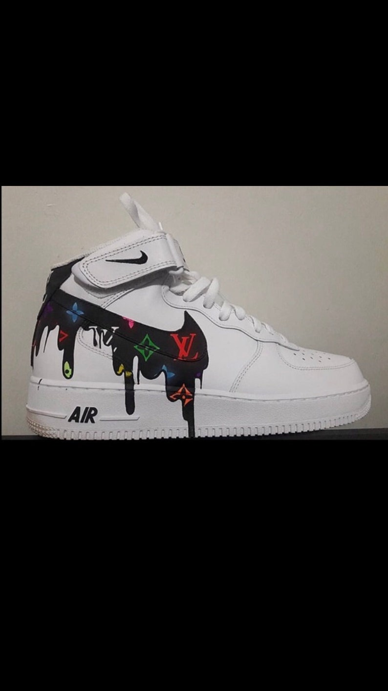 100% authentic ae659 408c4 Custom Shoes Nike Air Force 1 One mid Supreme Louis Vuitton   Etsy