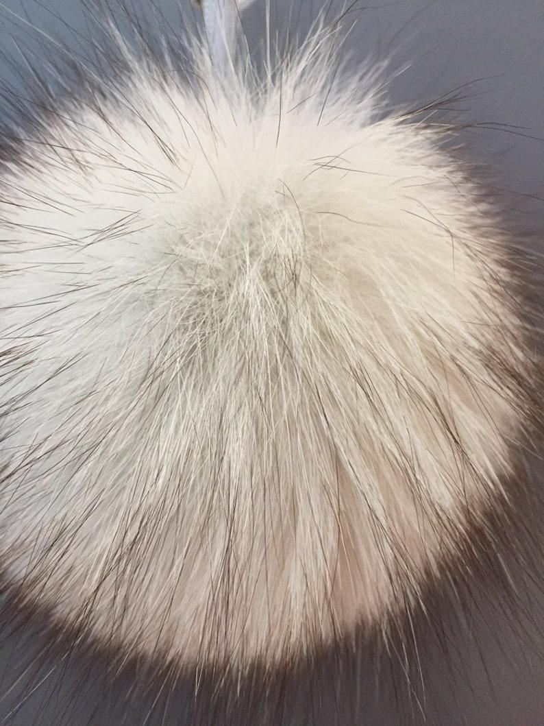 Letter keychain Fur pompom FOX Real Fur with ring for keys Furball for handbag