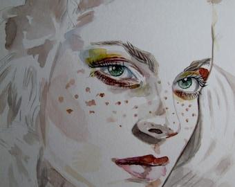 Original Watercolor Woman Portrait Face Illustration Fashion