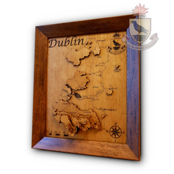 Map Of Ireland 3d.County Dublin 3d Topographical Map Wooden Map Ireland Etsy
