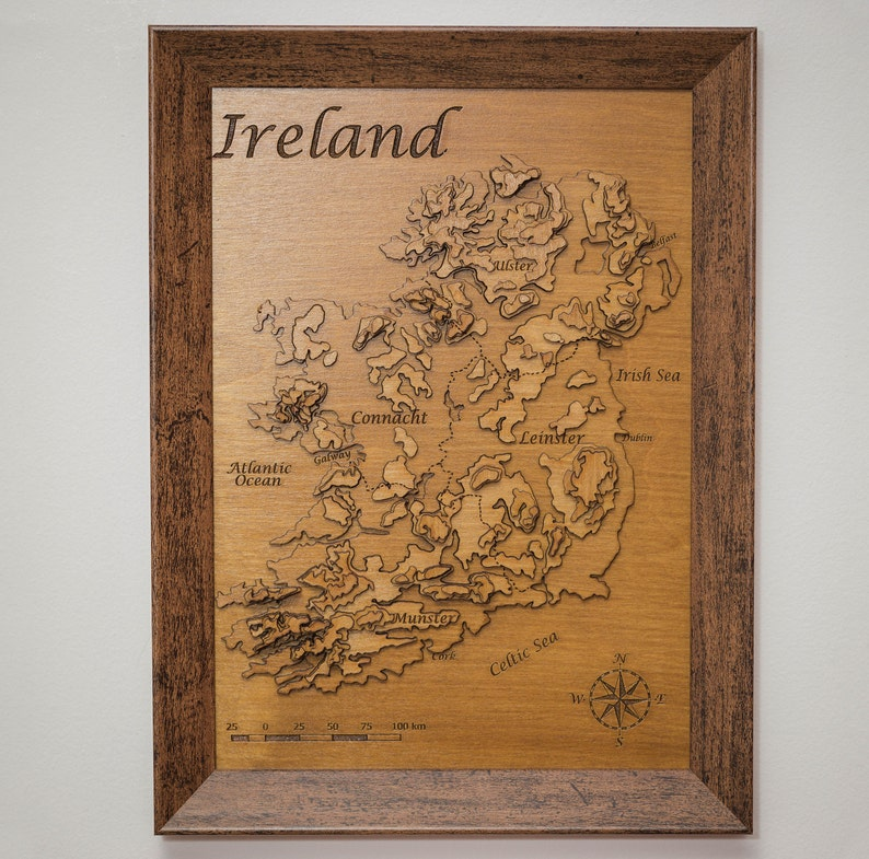 Map Of Ireland 3d.3d Topographical Map Of Ireland Wooden Map Ireland Map