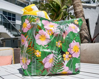 96046f04c Tropical Oversized Vinyl Tote - Cute Beach Bag - Vacation Vinyl Beach Tote