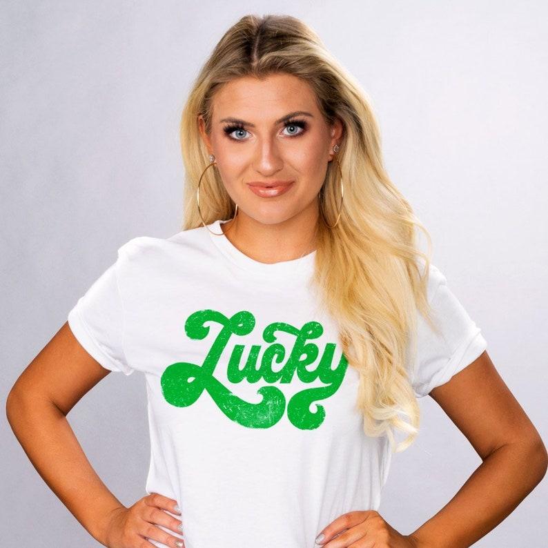 c63e78e19 Vintage Lucky Script Unisex White Short Sleeve T-Shirt St. | Etsy