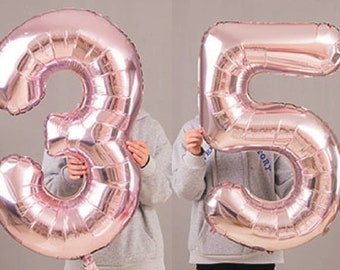 35th Birthday Party 40 Foil Balloon HeliumAir Decoration Age 35 Rose Gold Light