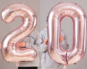20th Birthday Party 40 Foil Balloon HeliumAir Decoration Age 20 Rose Gold Light