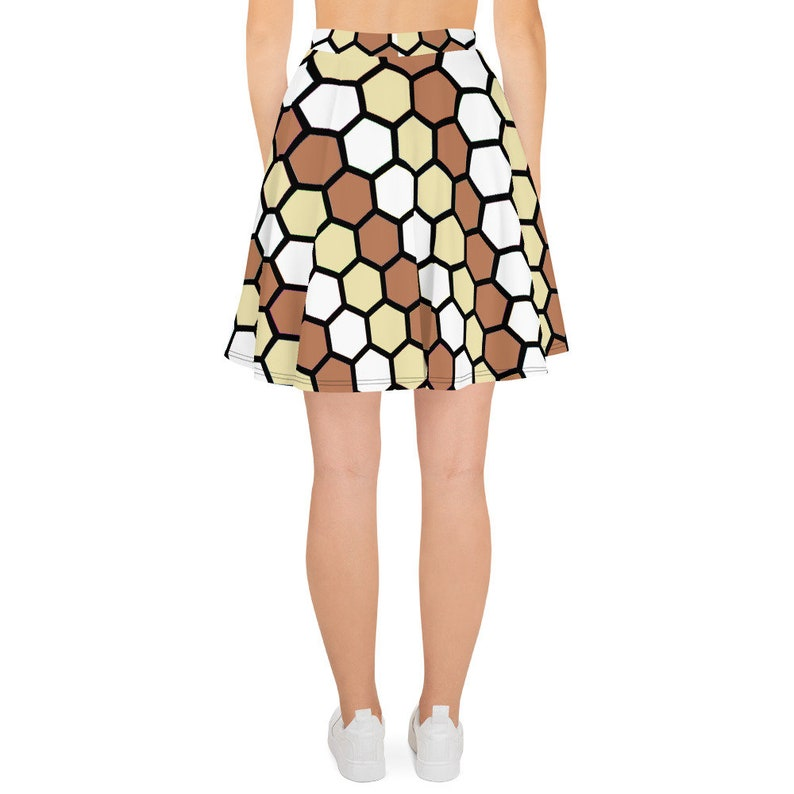 BROWN GEOMETRIC PRINT Skater Skirt short summer cosplay