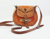 Hand Tooled Hand Painted Leather Crossbody Bag Vintage leather Purse 70s