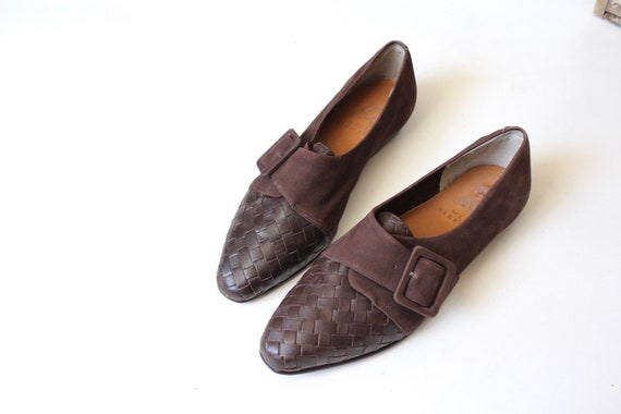 Vintage Nike Woven Leather Suede slip in Loafers /
