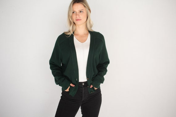 Deep Forest Green Button Up Cardigan / Oversized C
