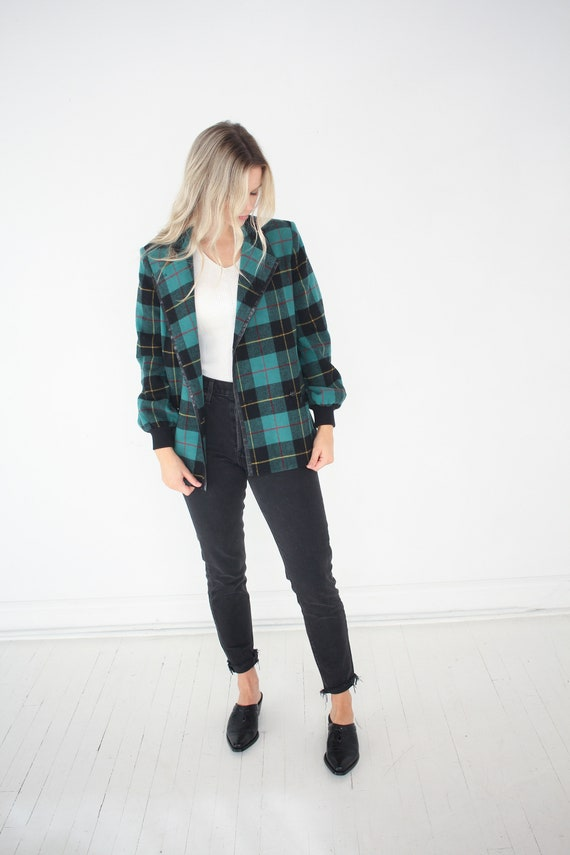 Vintage Wool Green Plaid Jacket / Alfred Sung /
